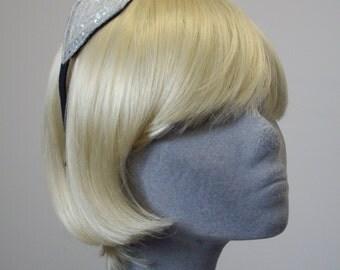 Ivory Headband - Pearlescent Sequin and Beaded Diamond Motif