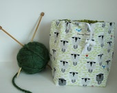 Sock Knitting Project Bag, Drawstring, Reversible with Sheep on White