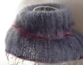 luxury SOFT MOHAIR COWL, lilac blue, purple trim, women, neckwarmer, hat