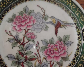 VINTAGE JAPANESE PLATE, multicolours, gold, bird, flowers, home decor