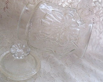 Vintage Anchor Hocking Rain Flower Glass Canister