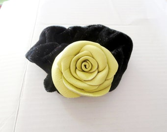 Leather rose Flower Scrunchie