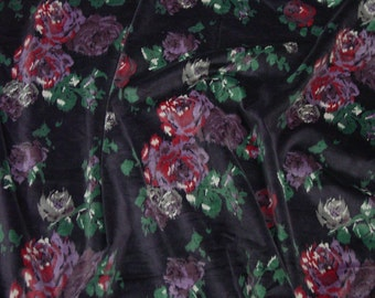 "Luscious Vintage Printed Velvet Fabric, 45"" Wide, 3 Yards 31"", Purple Floral"