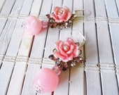 Pink Rose Flower Earrings, Upcycled Vintage, 1950's style, Rhinestones, beaded dangle earrings, Blush, cotton candy pink, Floral earrings
