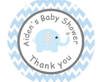 Baby Shower Blue Grey Elephant Personalized Round Stickers - Baby Boy Blue & Gray Chevron Labels for Party Favors **Discounts Available