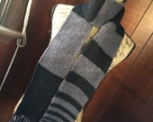 Winter Wool Scarf, Ribbed scarf, Black and Grey