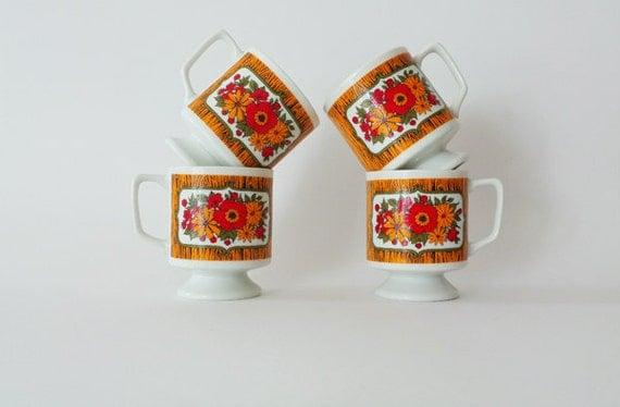 Vintage Flower Power Pedestal Cups