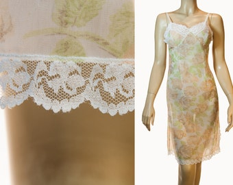 Really sheer floaty multi-tonal pastel floral design double layer Perlon and delicate white lace detail 1960's vintage full slip - 3069