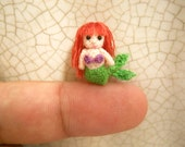 Micro Mini Mermaid -  Amigurumi Crochet Tiny doll - Made To Order