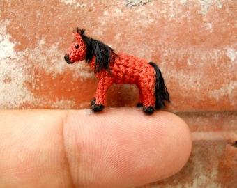 Chestnut Horse - Micro Amigurumi Miniature Crochet Tiny Stuffed Animal - Made To Order