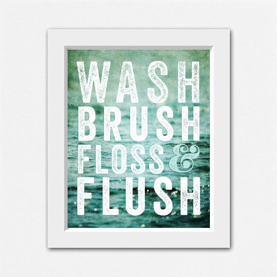 Teal bathroom decor wash brush floss and flush by for Teal and black bathroom accessories