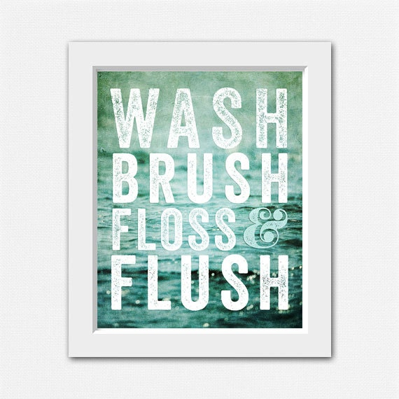 Teal bathroom decor wash brush floss and flush by for Black and teal bathroom ideas