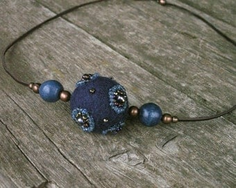 Blue  - Turquoise - Hand felted wool necklace embroidered with small glass beads