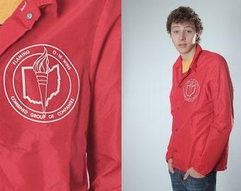 Vintage Red OHIO Champion Mens Flaming O-hi-Wins Jacket | Medium Menswear Guys Coat | Nylon Retro Boyrfriend Fall Winter Outerwear | B