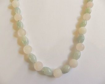 Rose quartz & amazonite gemstone necklace, pink, green, frosted rose quartz, pink necklace, pale green necklace, pastel gemstones