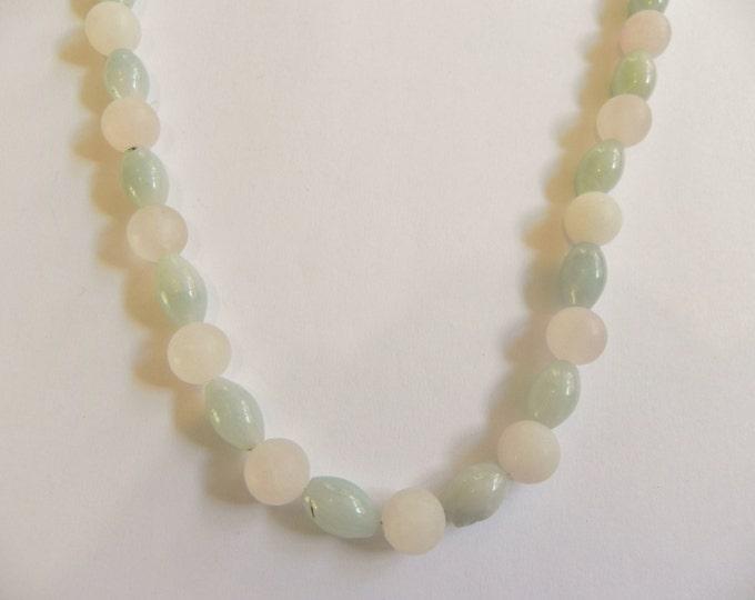 Rose quartz & amazonite gemstone necklace, pink, green, frosted rose quartz, pink necklace, pale green necklace, pastel gemstones