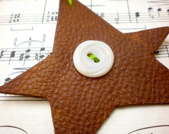 Hand-cut star shaped leather ornament with vintage buttons; simple shabby chic style; imperfect ornament; handmade character; timeless