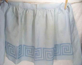 Vintage Apron Blue Gingham Hand Embroidered