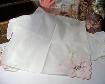Vintage Ladies Handkerchief Delicate Pink Applique Flower Wedding