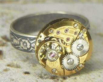 Women's Steampunk Ring Jewelry - Torch SOLDERED - GOLD Circular Watch Movement w Cool Design & Floral Band - Adjustable - Petite Exquisite