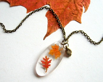 Two Autumn Leaves - Real Autumn Leaves Woodland Necklace - Pressed leaves, botanical jewelry, Autumn necklace, oak, maple, woodland, ooak