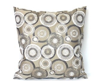 Beige Pillow Cover Grey White Circles Upholstery Fabric Decorative Pillow Cushion Throw Pillow Cover 24x24 22x22 20x20 18x18 16x16