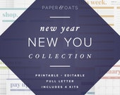 New Year New You Collection – 4 Editable Printable Sets of Calendars, Budget Planning, Fitness Journal, Meal Menu Planning / PDF Printables