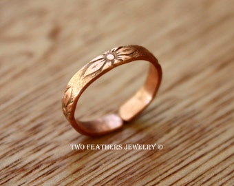 Copper Midi Ring - Copper Ring - Floral Pattern Ring - Above The Knuckle Ring - Mid Finger Ring - Adjustable - Copper Toe Ring - Minimalist