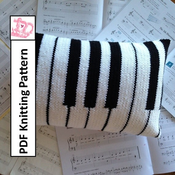 Knitting Pattern Piano Keyboard : Piano Pillow PDF KNITTING PATTERN 12x20