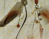 Shamanic Feather Earring, Ethnic, Tribal, Shaman, Coyote Tooth, Shark Tooth, Shell,Fossil, Pentacle, Wica, Carnelian