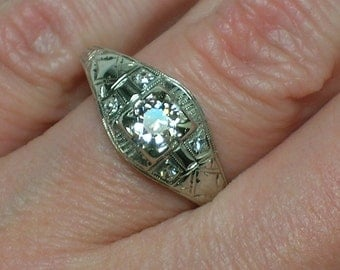 Art Deco Engagement Ring, Barth Jewelers, 18K White Gold, Champagne Diamond. Size 7 1/4