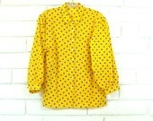 80's JAEGER TRIANGLE BLOUSE vintage puff sleeve bright yellow button up lady career designer top geo M