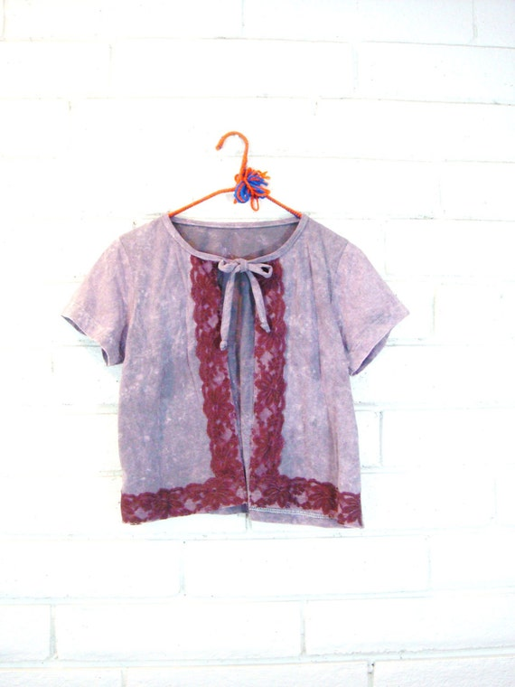 LACE T-SHIRT CARDIGAN upcycled vintage tee knit top handmade bleached purple pastel S