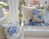 Beach Sea Life Pillow - Indoor / Outdoor Fabric - Sea Creatures - Reversible 16.5 x 16.5 Inch Pillow -  Burlap Fabric Piping