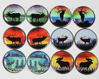"""1"""" Epoxy Stickers Elk and Moose Cab Set Bottle Cap Beading"""