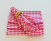 Hot Pink Cloth Napkins,Gingham Check Luncheon Napkins, Set of Four 12""