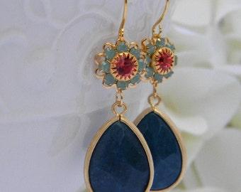 Navy Earrings/  Swarovski Crystal Dangle Earrings / Navy and Gold Earrings/ Bridesmaid Jewelry / Wedding Jewelry / Bridesmaid GIft / Gift