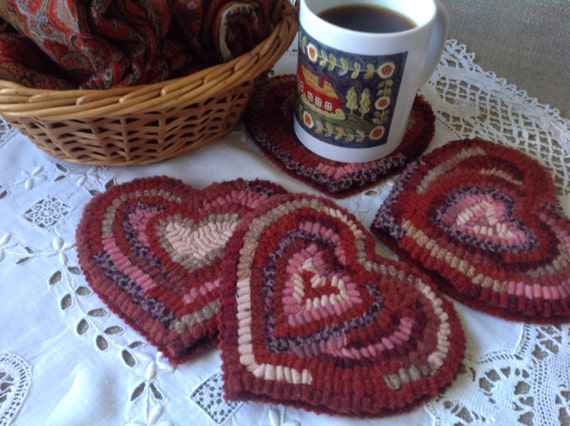 Rug Hooking PATTERN, Heart Mug Rugs, J872, Primitive Hearts, Folk Art Hearts