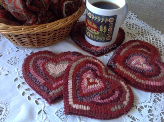 Rug Hooking PATTERN, Heart Mug Rugs, J872, Primitive Hearts, Folk Art Hearts