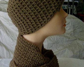 Crochet Crocheted Chemo Hat and Skinny Scarf - Cappuccino
