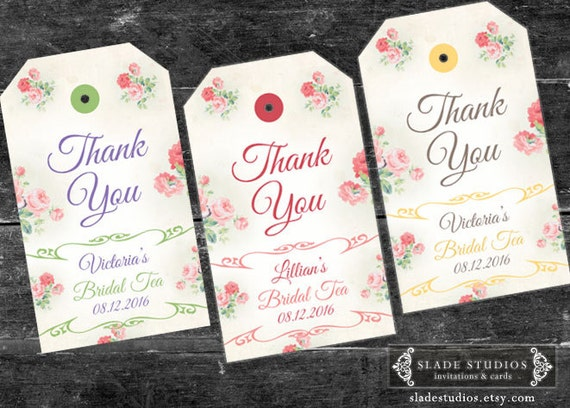 Pink floral bridal tea kitchen tea thank you swing tags like this item stopboris Choice Image