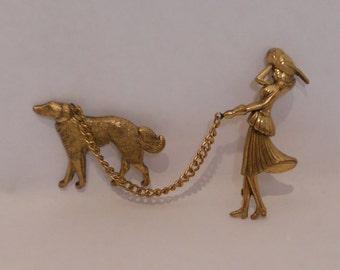 Vintage 1948 Katz CORO Gold Tone Woman Walking Dog Figural Chatelaine Pin/Brooch