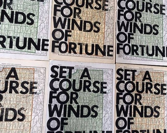 Kansas/ Set A Course for Winds of Fortune/ Letterpress Print on Antique Atlas Page