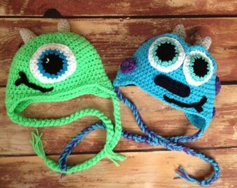 Mike or sully hat, crochet beanie, newborn, baby, toddler, child size, newborn photography prop, baby gift.