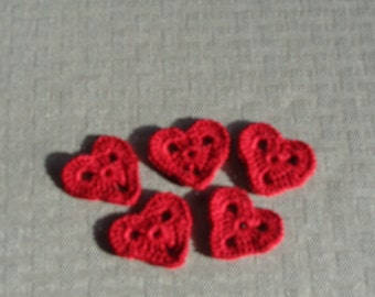 Red Crocheted Applique Hearts