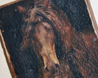 horse picture, wall hanging wooden picture
