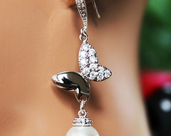 Bejeweled Butterfly Wedding Earrings, Pearl Drop Bridal Earrings, Crystal Drop Bridesmaid Earrings, Bridal Accessories, Mother of the Bride