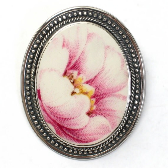 Broken China Jewelry Pink Peony Flower Sterling Oval Pin Brooch