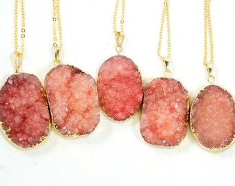 Druzy Necklace - Watermelon Pink - Natural Agate Titanium Druzy Geode Quartz Crystal Rough Cut Rock Drop Nugget Necklace - Gift Idea