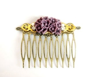 Violet Flower Rhinestone Collage Comb - OOAK Victorian Style Shabby Chic Flower Collage Hair Comb - Purple - VCC012